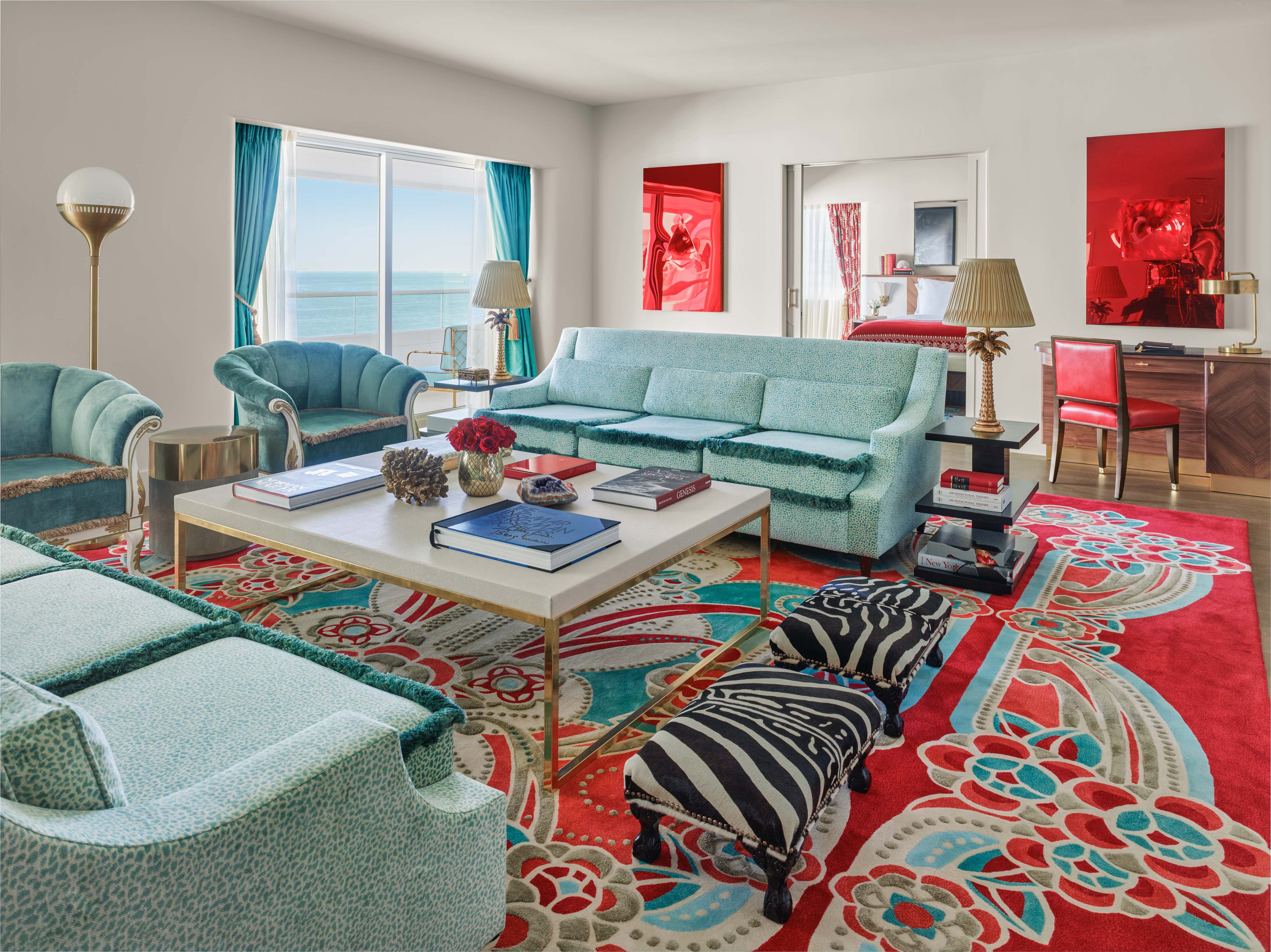 living room in saxony suite at the faena hotel