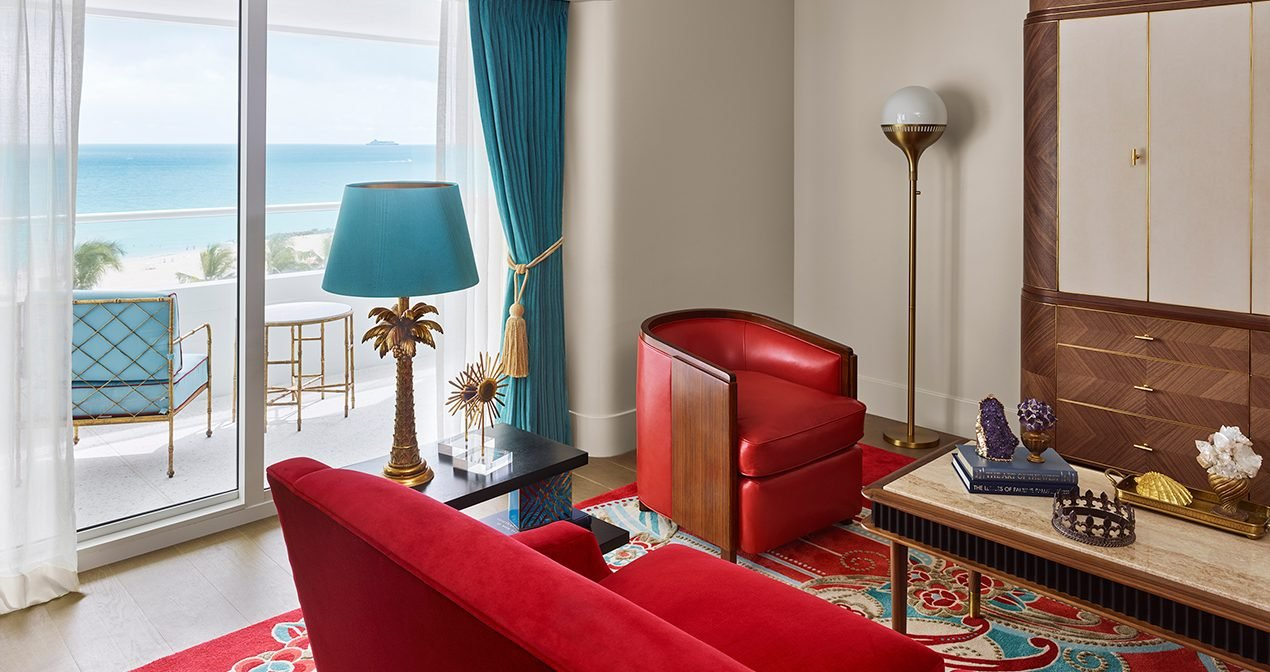 living room in suite at the faena hotel with ocean view
