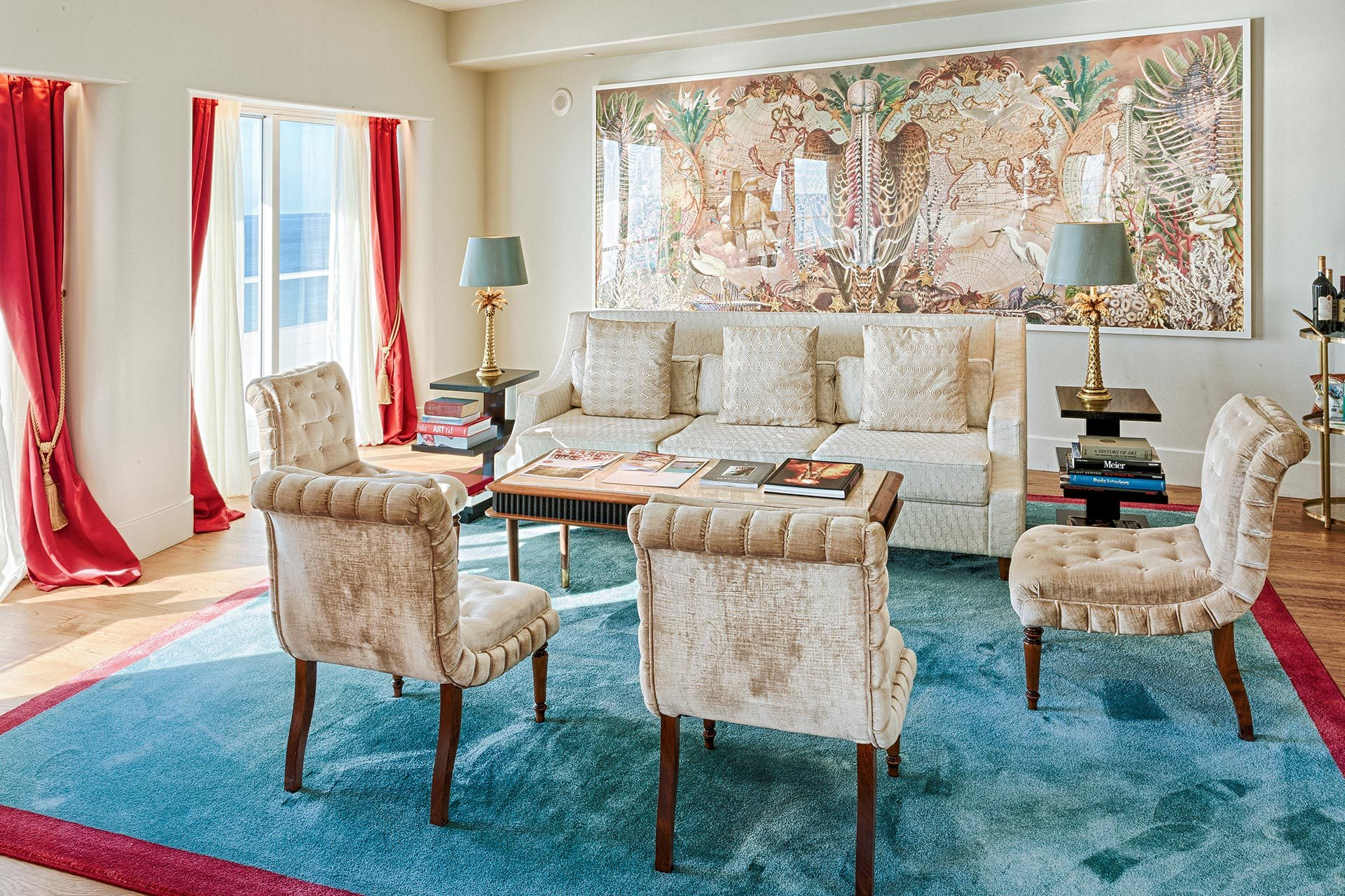 couch and four chairs in faena hotel suite