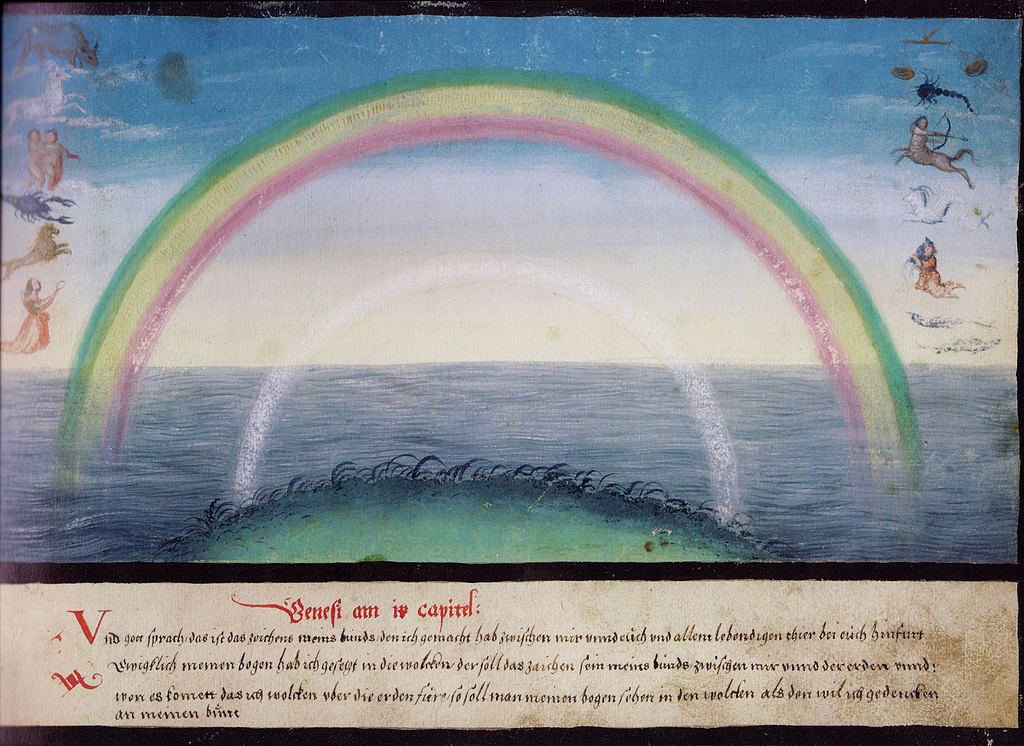 Medieval painting of rainbow with mythical creatures on either side.