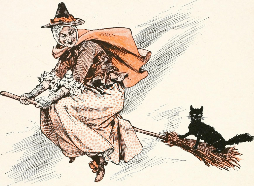 drawing of a witch on a broom with a cat
