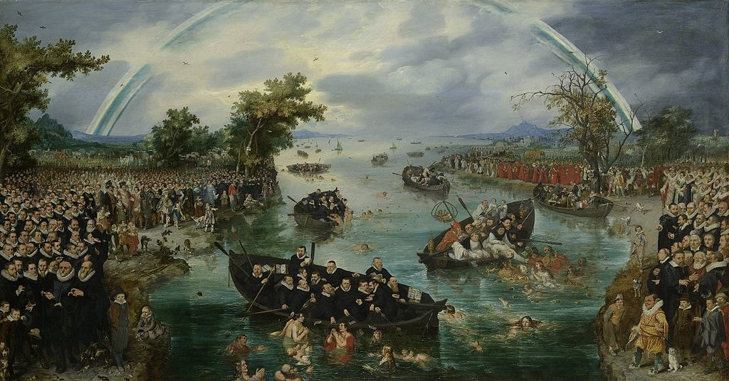 Medival painting of people in boats on river with blue-white rainbow overhead.