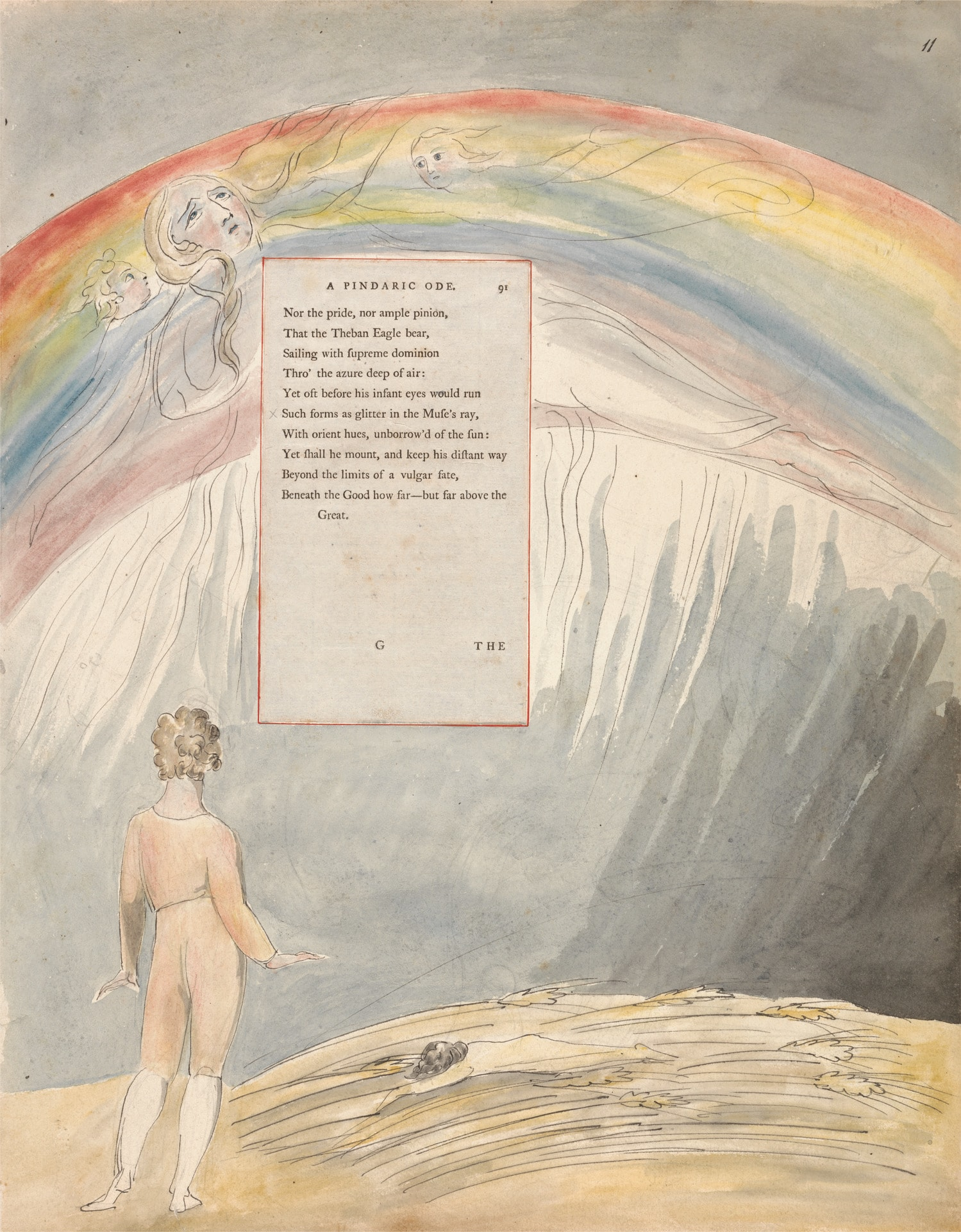 Poem by William Blake and rainbow illustration in background.