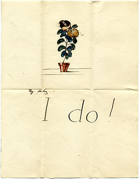 "Sketch of potted plant and the words ""I Do!"""