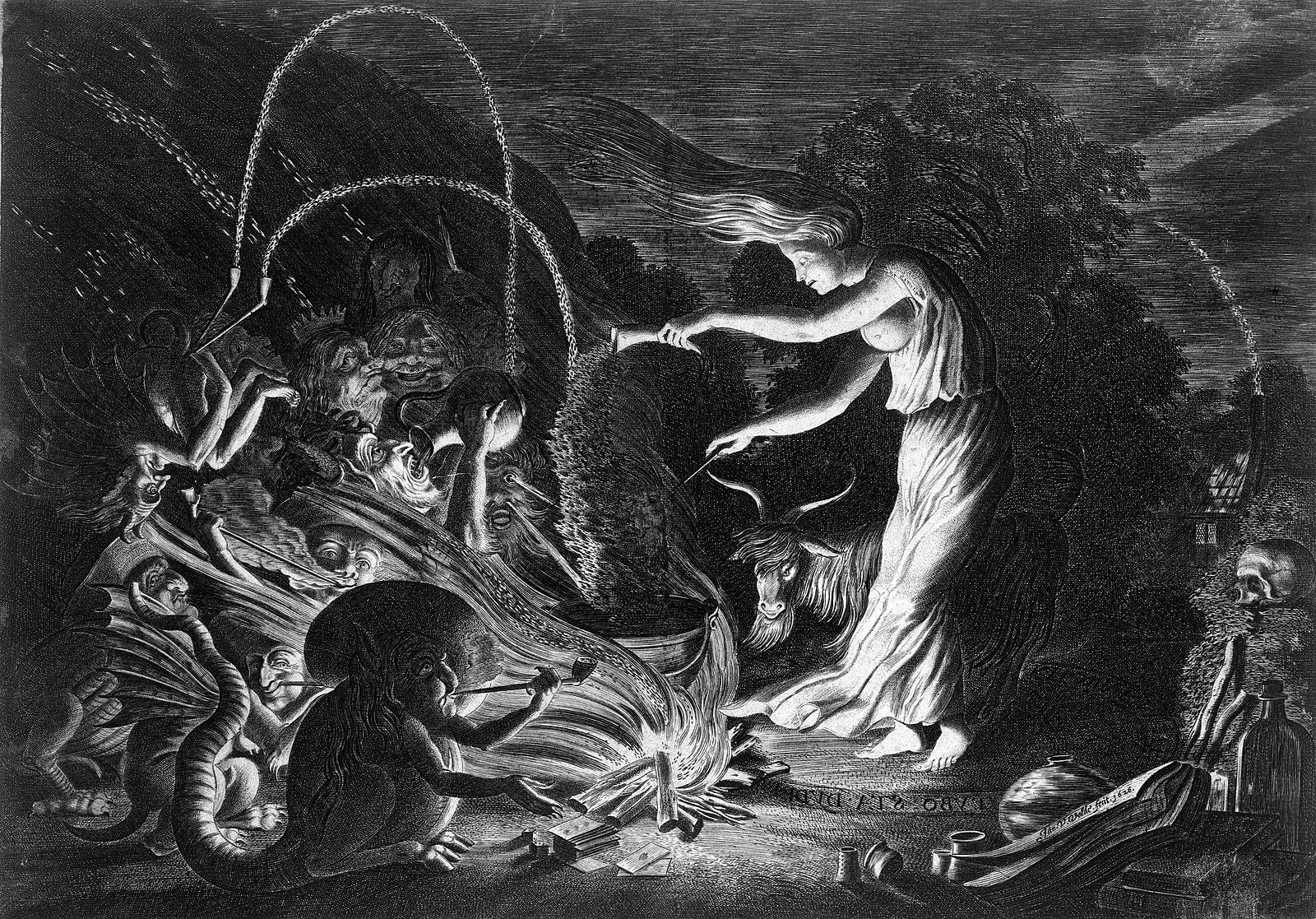 black and white image of a woman casting spells in the forest surrounded by animals