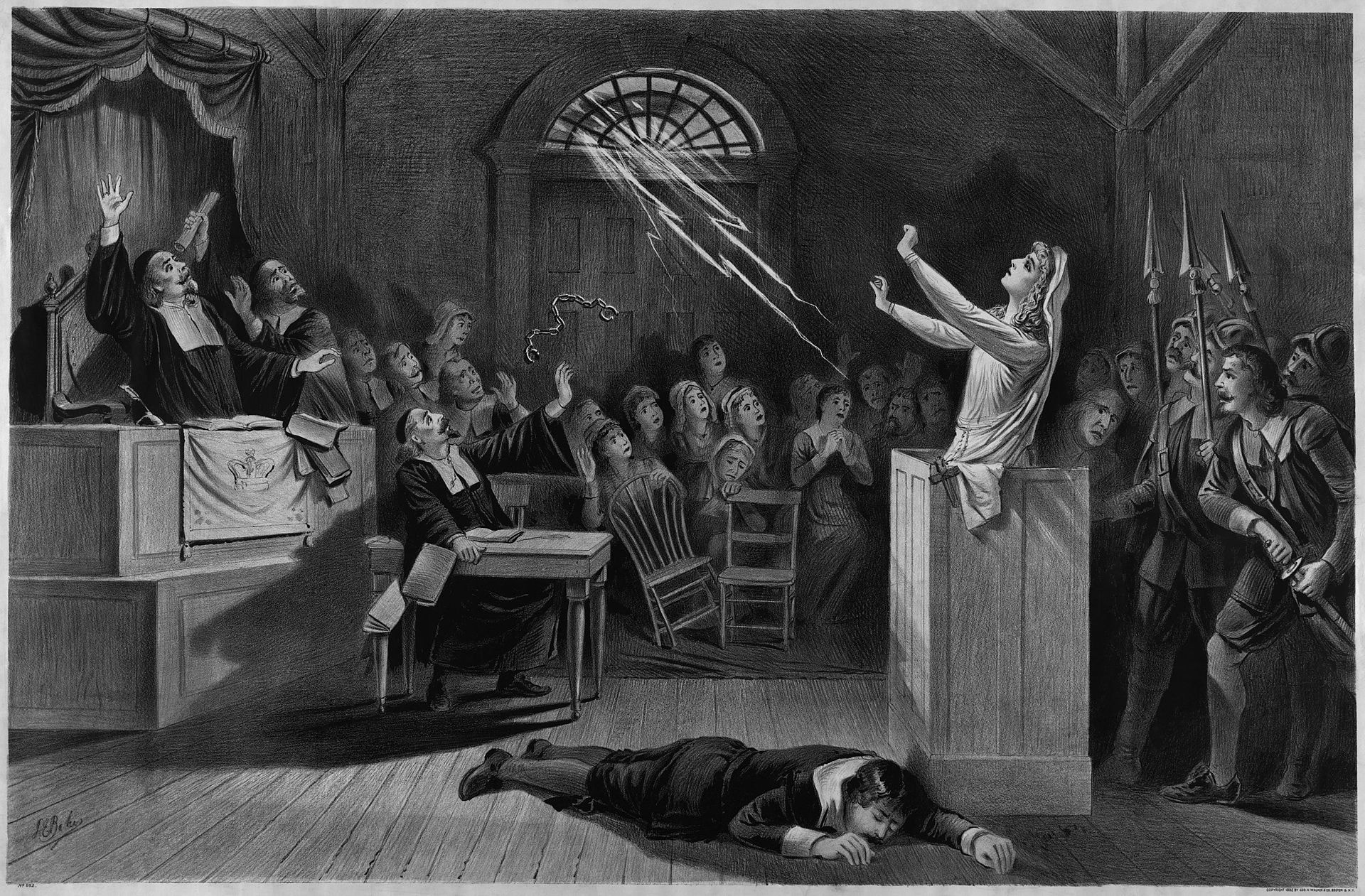 black and white painting of a woman on trial for being a witch