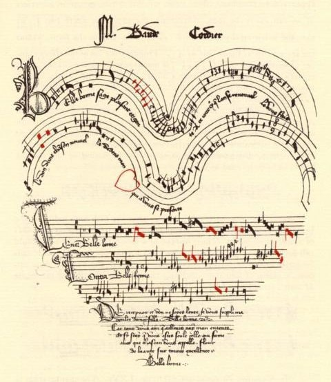 Medieval sketch of heart, inside are music staffs and Latin writing