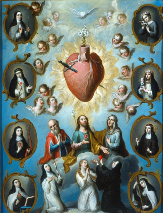 Painting of Jesus and saints looking up at a heart with dagger surrounded by flames