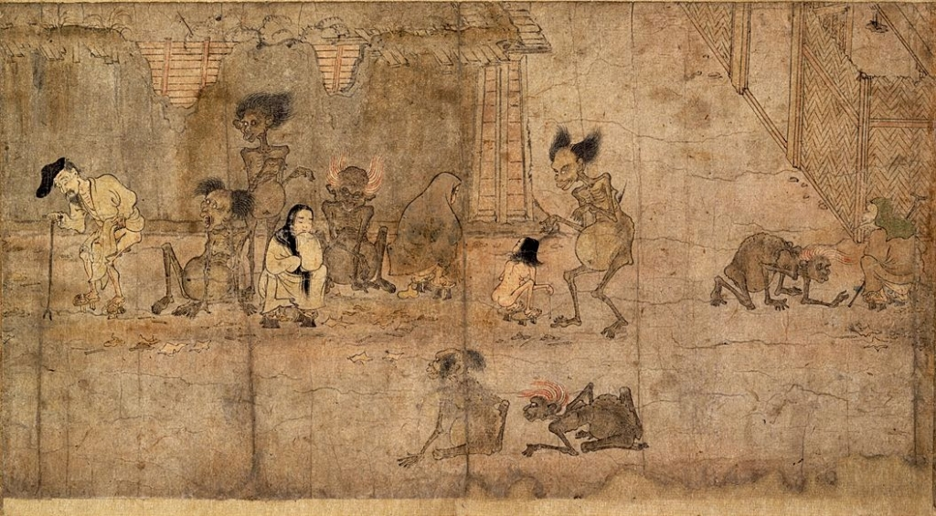 Painting of ghosts visiting the people of Japan