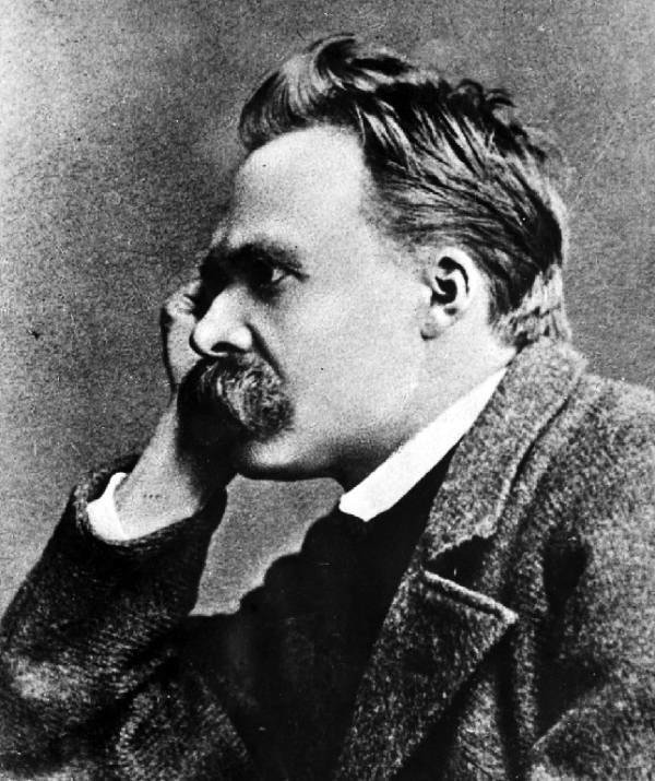 Black and white photo of Nietzsche