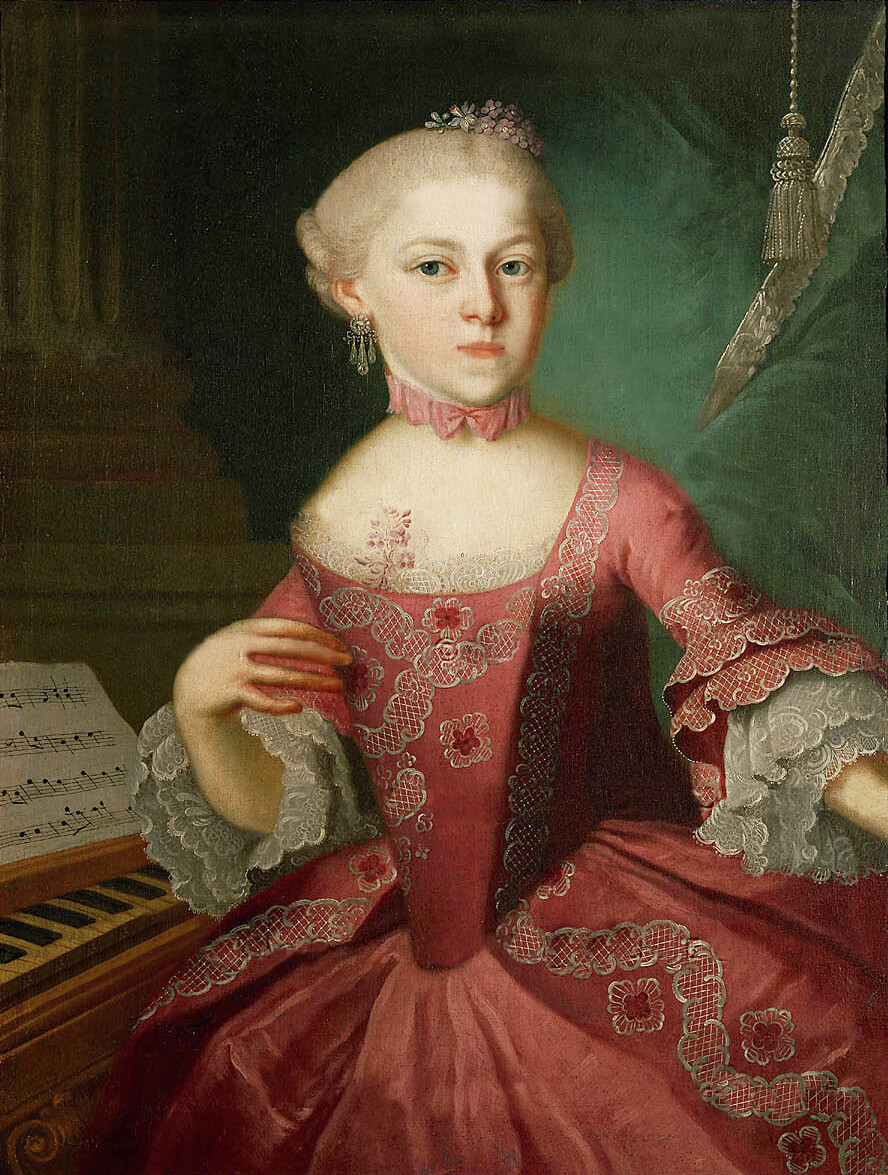 Painting of Maria Anna Mozart in pink dress next to piano