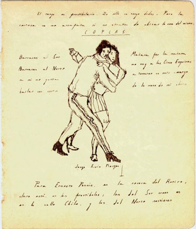 Sketch of man and woman dancing tango by Jose Luis Borges