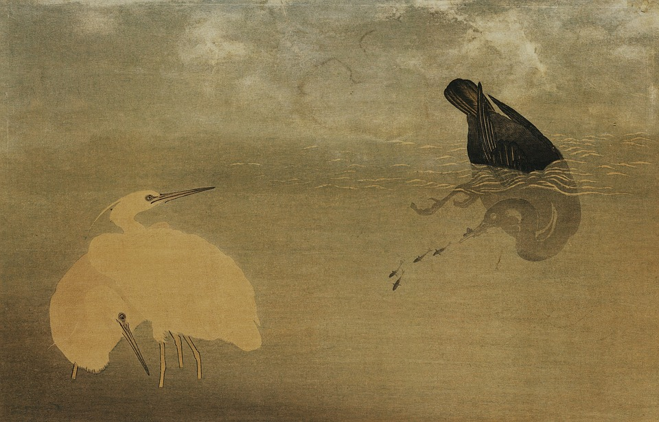 A painting of a white and black crane, with the black crain diving underwater.
