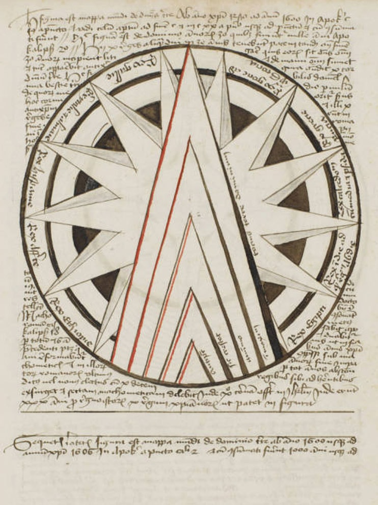 Medieval sketch of sun and arrow shape with Latin writing.