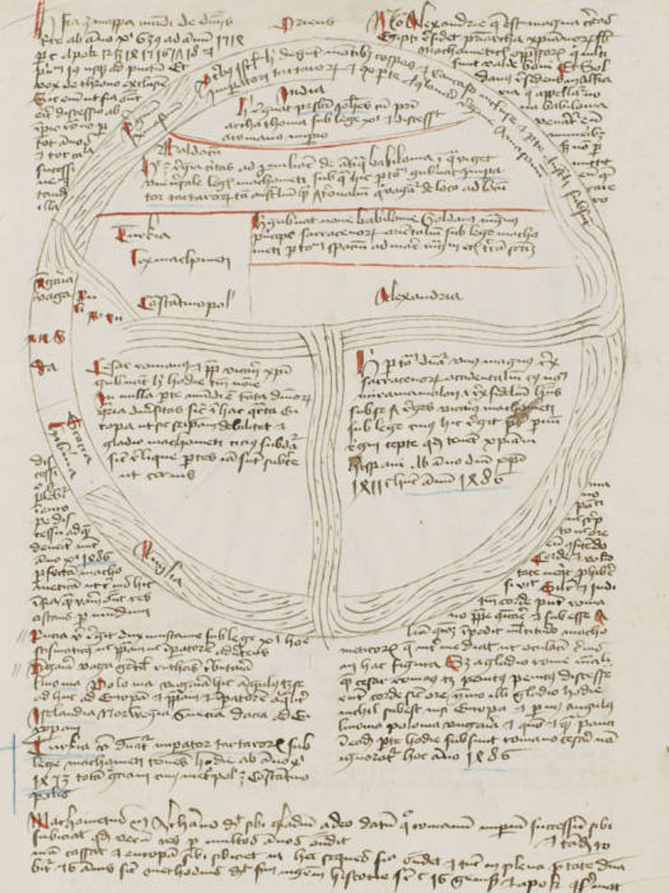 Medieval sketch of circular river with Latin writing.