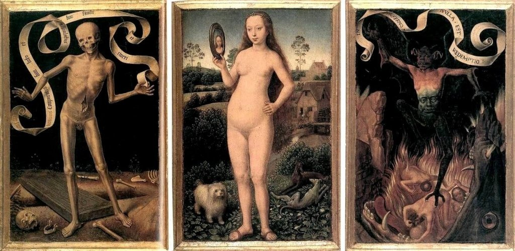 A painting depicting memling, vanity, and salvation