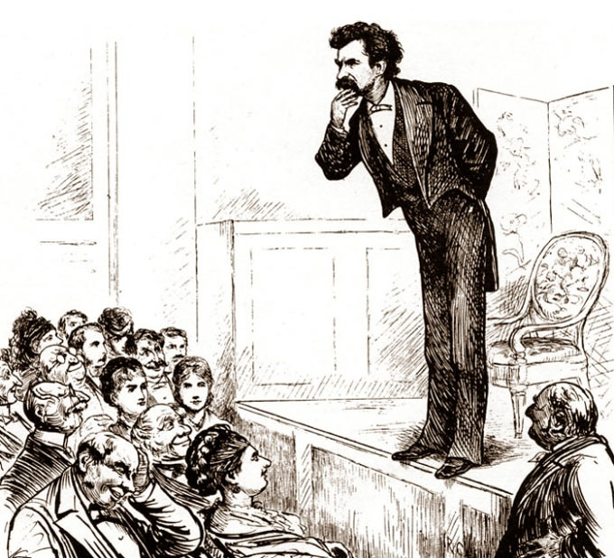 drawing of Mark Twain speaking to a crowd