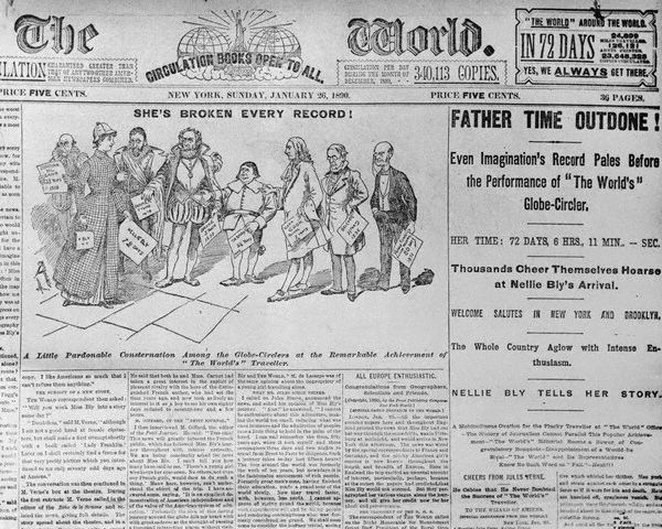 Front page of The World newspaper with cartoon of Nellie Bly