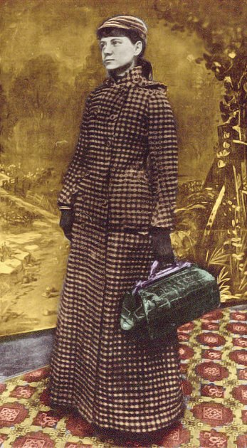 Journalist Nellie Bly stands with suitcase in hand.