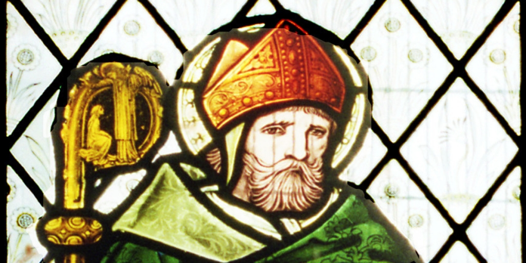 A stained glass window of a man