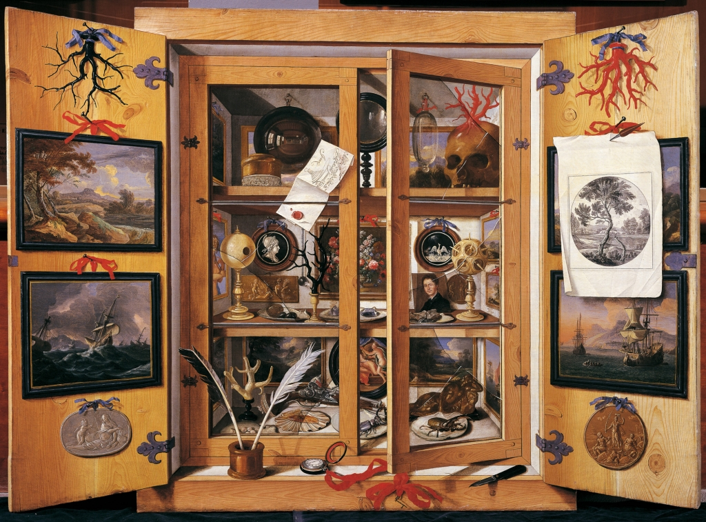 Painting of cabinet with paintings and historical artifacts.
