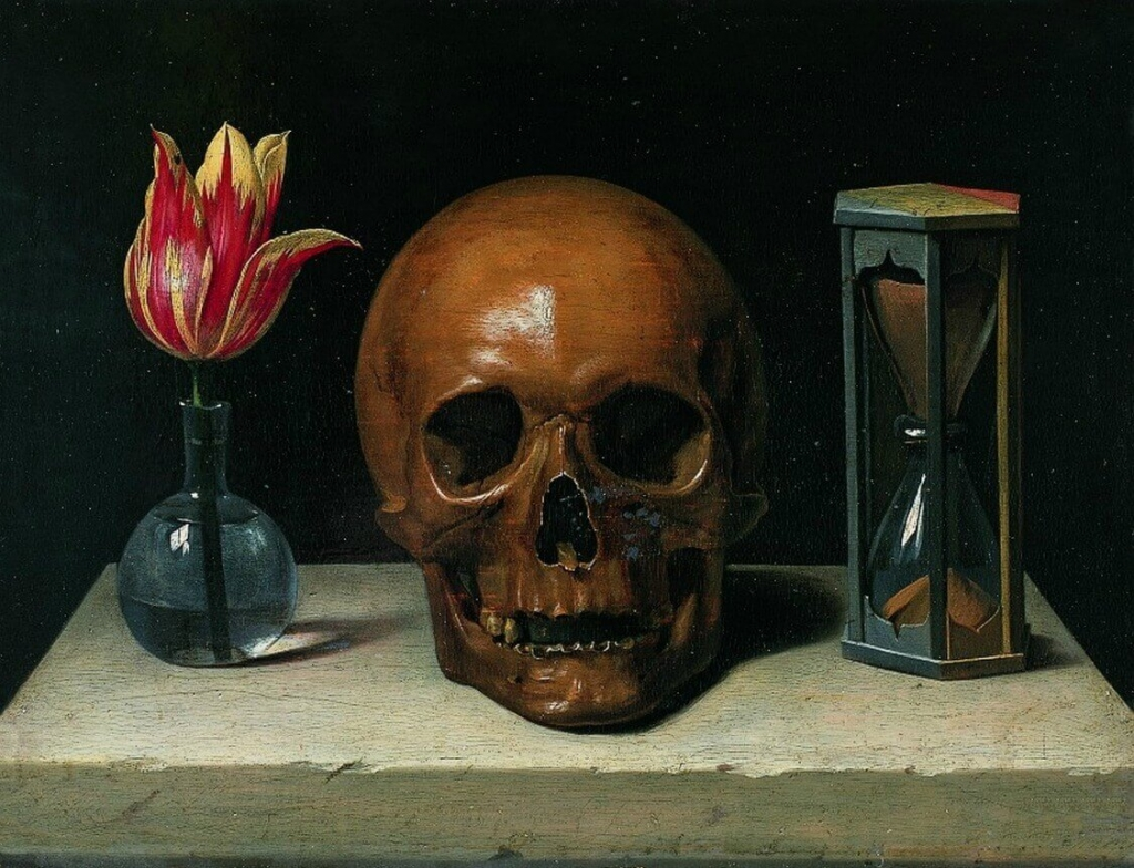 A still life painting of a skull