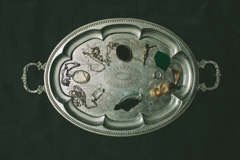 artist laura tacka, personal belongings on a silver tray