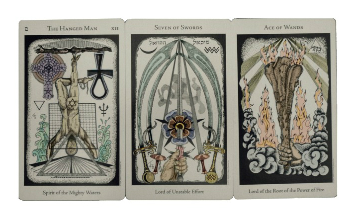 three face-up tarot cards
