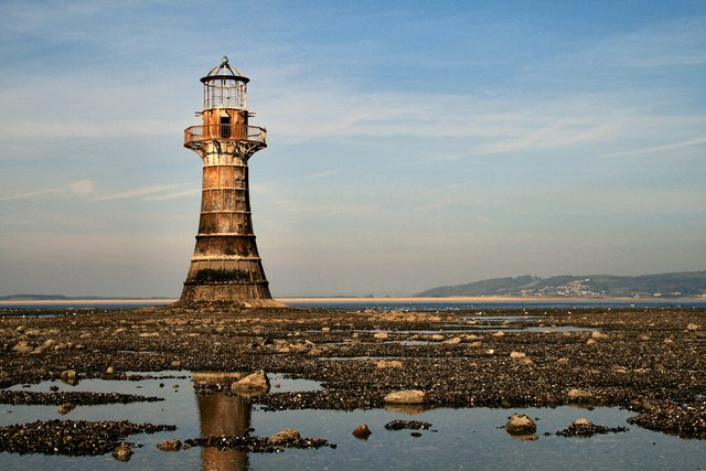Whiteford lighthouse at low tide
