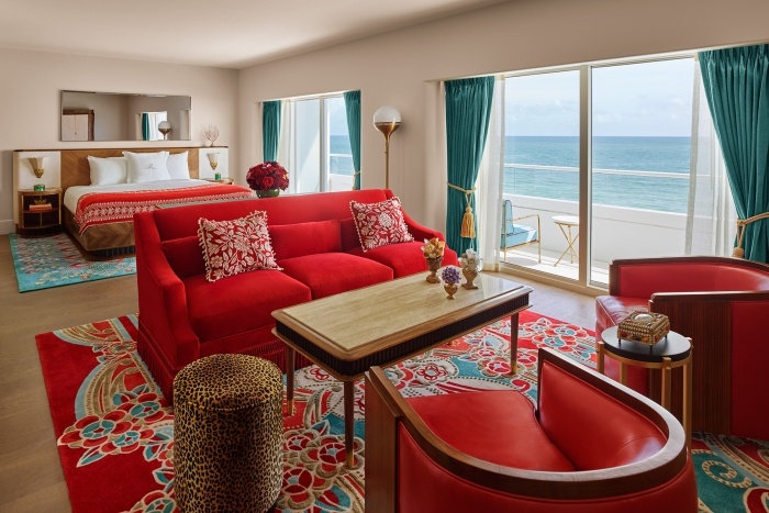 premier hotel suite with windows facing the ocean