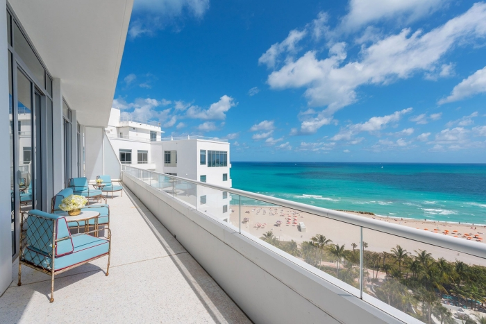 hotel balcony overlooking miami beach