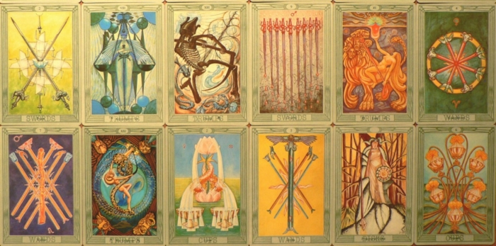 two rows of tarot cards
