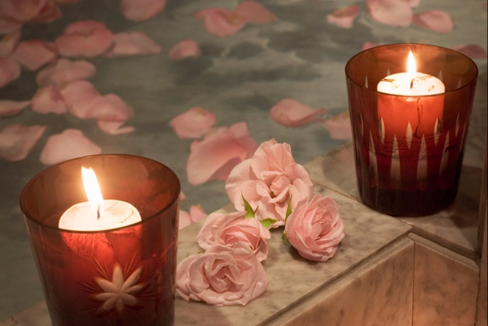Faena Spa candles and flowers