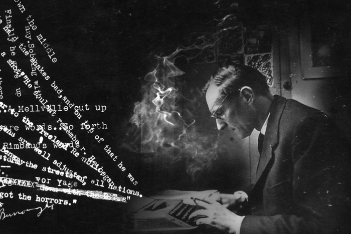 A man works at a typewriter as his words are depicted graphically
