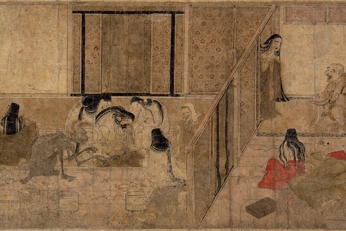 A Japanese illustration of the inside of a home being visited by spirits