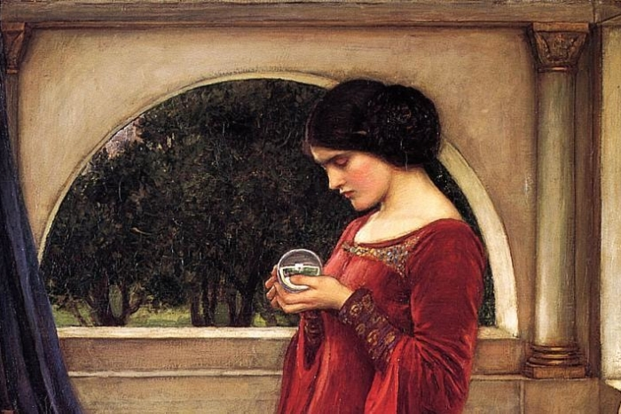 Painting of a woman holding a glass orb