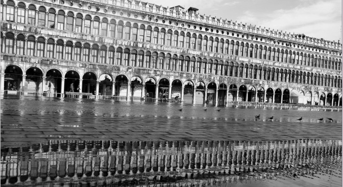 Black and white photo of flooded Venice