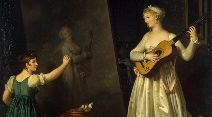 Portrait of woman painting another woman holding a lute