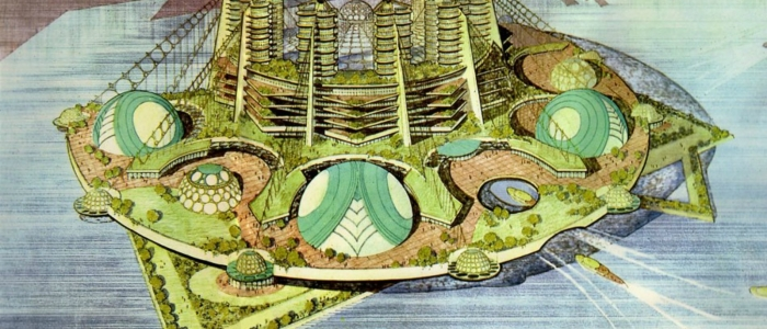 Sketch of future city by Frank Lloyd Wright
