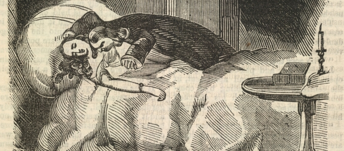 Illustration of vampire biting neck of woman laying in bed