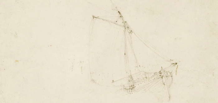 A faint drawing of a sail boat