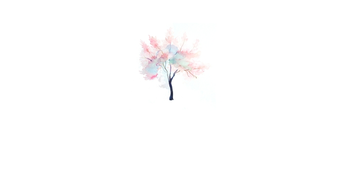 A watercolor tree with blue and pink hues