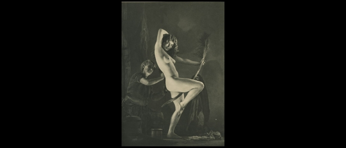 A nude women riding a broom stick with a man behind her touching her back