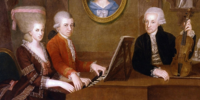 Painting of Maria Anna Mozart and Mozart playing piano