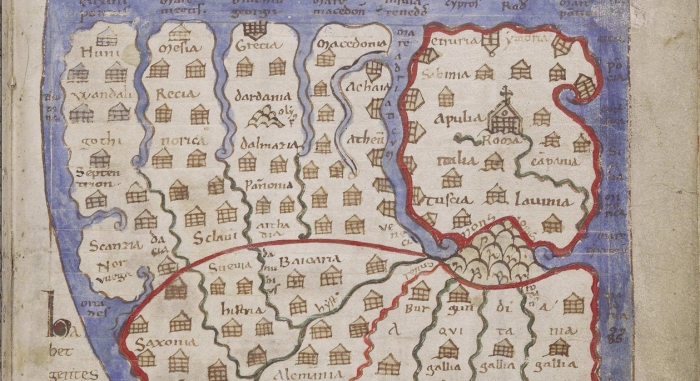 Medieval map with marked buildings and surrounding water.