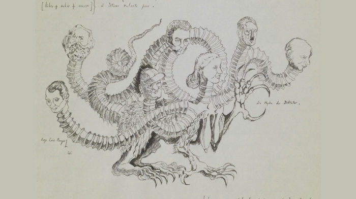 Sketch of hydra creature with human heads by J L Borges.