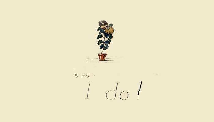 "Sketch of potted plant with the words ""I Do!"""