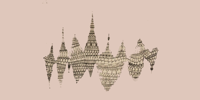 Abstract sketch of buildings on pink background.
