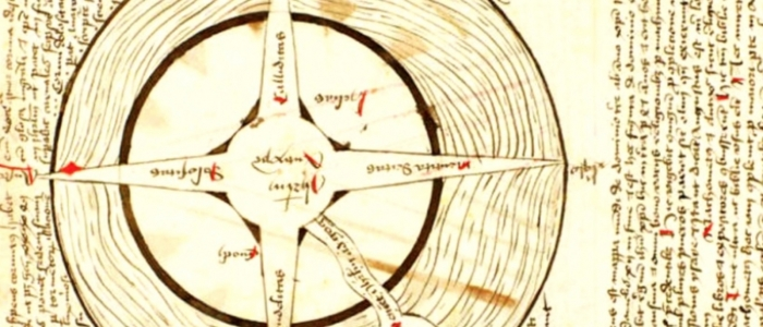 Medieval sketch of a compass with Latin writing.