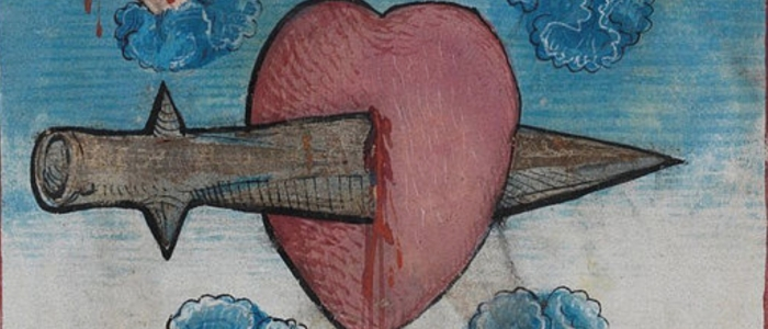 Illustration of cartoon heart stabbed with dagger.